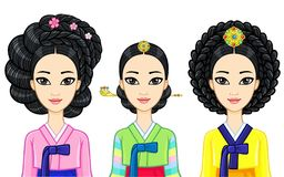 Asian beauty. Set of animation portraits of young Korean girls in ancient clothes with historical hairstyles. Stock Photo