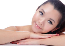 Asian beauty skin care Girl smiling Royalty Free Stock Photography