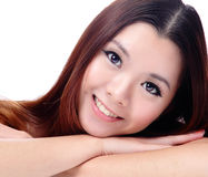 Asian beauty skin care Girl smiling Royalty Free Stock Images