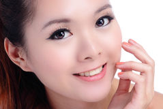 Asian beauty skin-care woman touching her face Stock Photo
