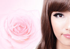 Asian beauty smile face with pink rose Royalty Free Stock Images