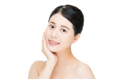 Asian beauty smile woman touch clean beautiful healthy face, whi Royalty Free Stock Images