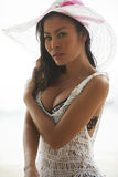 Asian Beauty On Sunny Beach Royalty Free Stock Photos