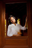 Asian Beauty Thai Traditional Teak House Royalty Free Stock Images