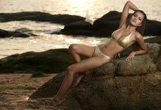 Asian Beauty At Thailand Beach Royalty Free Stock Image