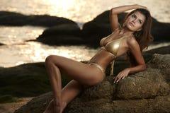 Asian Beauty At Thailand Beach Stock Photo