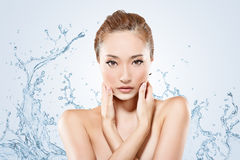 Asian beauty with water Stock Photo