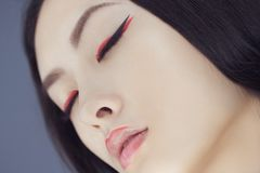 Asian beauty woman with creative make-up. Close-up portrait. royalty free stock images