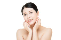 Asian beauty woman touch clean beautiful healthy face, white bac Stock Photo