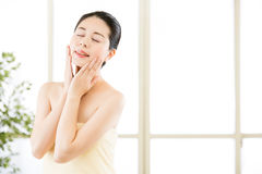 Asian beauty women natural route after shower enjoy freshness Royalty Free Stock Images