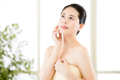 Asian beauty women natural route after shower enjoy freshness Royalty Free Stock Photography