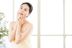 Asian beauty women natural route after shower enjoy freshness Royalty Free Stock Image