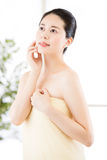 Asian beauty women natural route after shower enjoy freshness Royalty Free Stock Photos