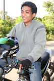 Asian biker. Asian on bike, travelling at tropical country Stock Images