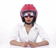 Asian biker girl wearing a helmet Stock Photography