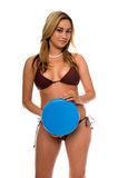 Asian Bikini Frisbee Royalty Free Stock Images