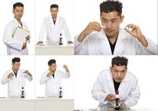 Asian Bio Engineer or Scientist Doing Research. Series of asian male scientist or microbiologist studying research or experiments with a lab coat and microscope Royalty Free Stock Images