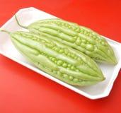 Asian bitter cucumbers. Some fresh asian bitter cucumbers in green Stock Photos