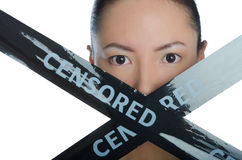 Asian black ribbon with closed mouth Royalty Free Stock Photo