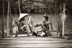 Asian, Black-and-white, Boys Royalty Free Stock Image
