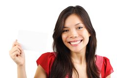 Asian Blank Sign Woman Royalty Free Stock Photo