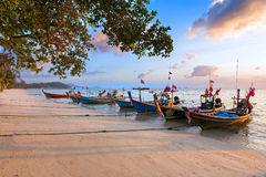 Asian boat on the beach Royalty Free Stock Image