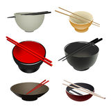 Asian Bowls & chopsticks. Set of illustration of six diverse Chinese / Japanese Bowl and chopsticks Stock Illustration