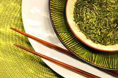 Asian bowls filled with herbs royalty free stock photography