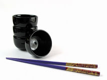 Asian bowls and stick. Typical asian bowls and sticks Royalty Free Stock Photography