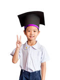 Asian boy with an academic gown hat Royalty Free Stock Photos