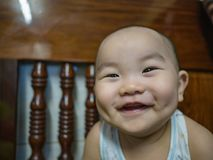 Cutie and Fat asian boy infant. Asian boy baby or infant smile very happy royalty free stock image