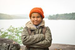 Asian boy backpack in nature winter season, Relax time on holiday concept travel Stock Images