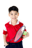 Asian boy in badminton action Stock Image