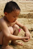 Asian boy at beach Stock Photos