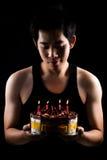 Asian boy with birthday cake Royalty Free Stock Photo