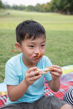 Asian boy bite apple. Picnic eating park young Stock Images