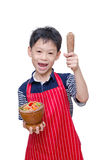 Asian boy chef with papaya salad Royalty Free Stock Photo