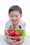 Asian boy chef and vegetable Royalty Free Stock Photography