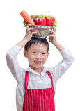 Asian boy chef and vegetable Stock Photos