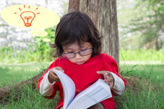 Asian boy. Children wore red dress and reading book on grass Stock Images