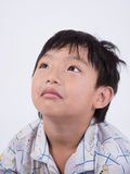 Asian boy cold. Snot sleeppy mope pyjamas little kid young Royalty Free Stock Photo