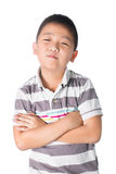 Asian boy cross someone's arm, isolated on white background Royalty Free Stock Images
