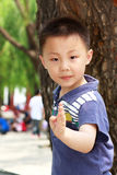 Asian boy is doing exercises Royalty Free Stock Photo