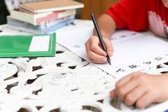 Asian boy doing his homework Stock Images