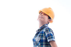 Asian boy dressed like worker on white. Stock Image