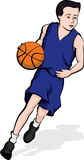 Asian Boy Dribbling A Basketball Stock Image