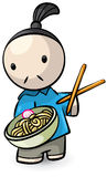 Asian boy eating noodles Royalty Free Stock Photography