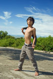 Asian boy fashion pose outdoors Royalty Free Stock Image