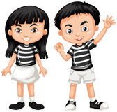 Asian boy and girl waving hand Royalty Free Stock Photography