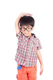 Asian boy growing tall and measuring himself Stock Photo